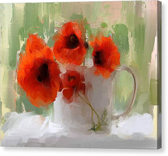 Red Flowers In A Cup Canvas Print
