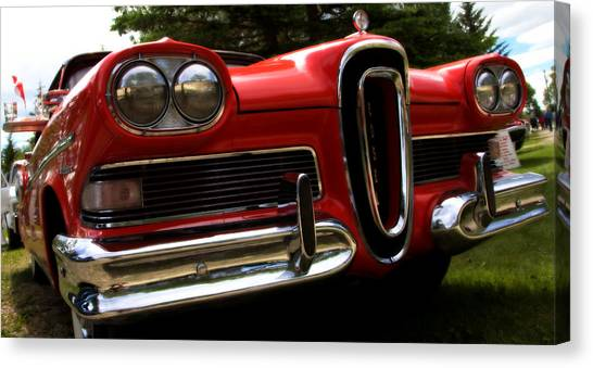 Red Ford Edsel Canvas Print