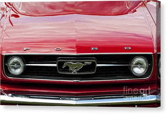 Front End Canvas Print - Red Ford Mustang by Tim Gainey