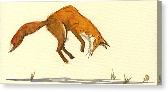 Red Fox Canvas Print - Red Fox Hunting by Juan  Bosco