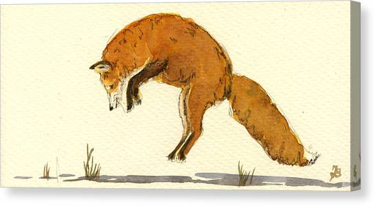 Red Fox Jumping Canvas Print by Juan  Bosco
