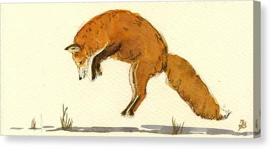 Hunt Canvas Print - Red Fox Jumping by Juan  Bosco