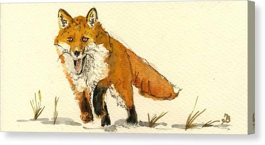 Hunt Canvas Print - Red Fox Running by Juan  Bosco