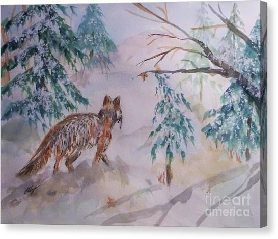Bushy Tail Canvas Print - Red Fox - Winter Dawn by Ellen Levinson