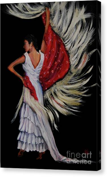 Red Fringed Scarf Canvas Print