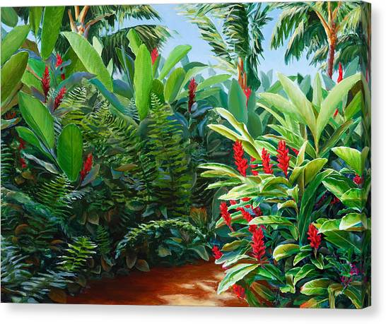 Red Garden Hawaiian Torch Ginger Canvas Print