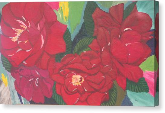Red Garden Roses Canvas Print
