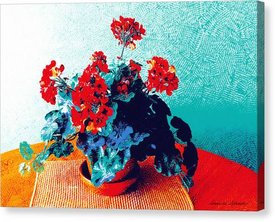 Red Geraniums Still Life Canvas Print