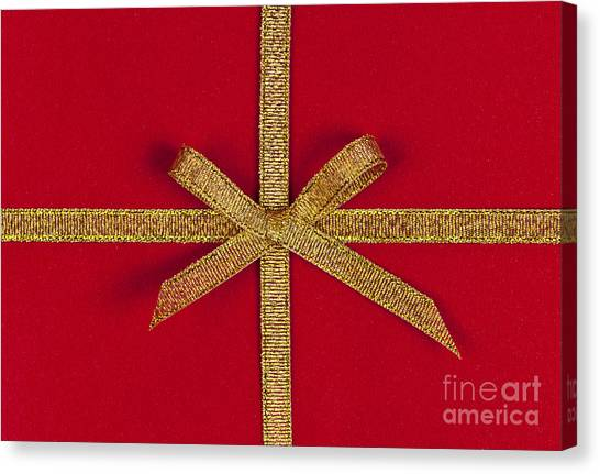 Red Knot Canvas Print - Red Gift With Gold Ribbon by Elena Elisseeva