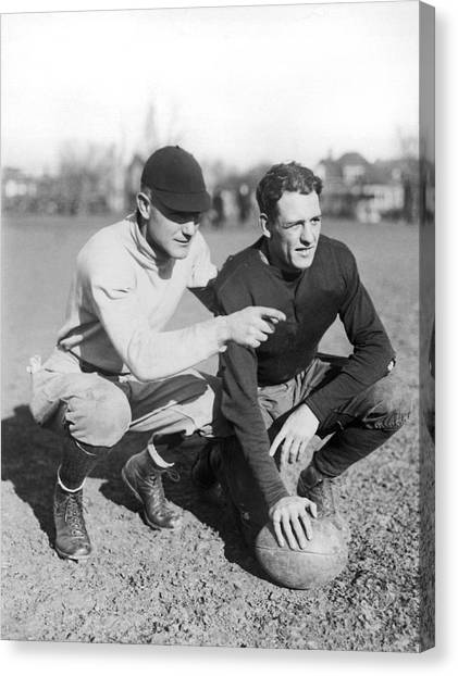 Illinois State University Canvas Print - Red Grange And His Coach by Underwood Archives