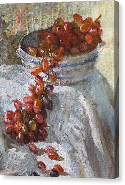 Grapes Canvas Print - Red Grapes by Ylli Haruni