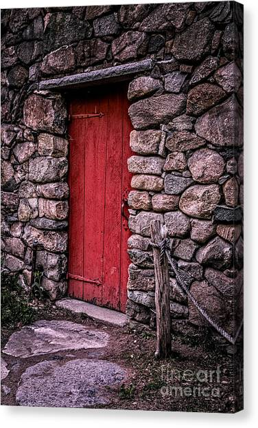 Grist Canvas Print - Red Grist Mill Door by Edward Fielding