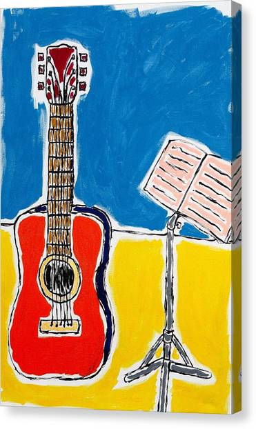 Red Guitar 1 Canvas Print
