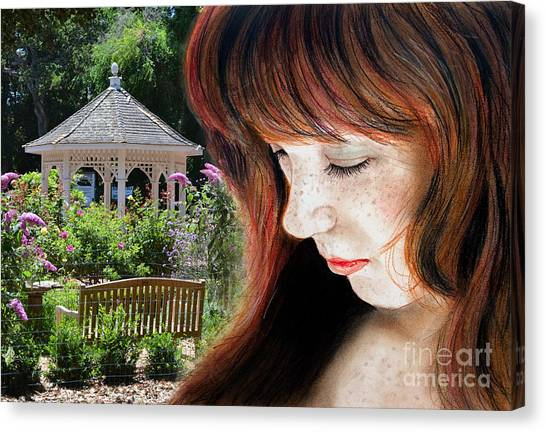 Lucy Liu Canvas Print - Red Hair And Freckled Beauty II Altered Version by Jim Fitzpatrick