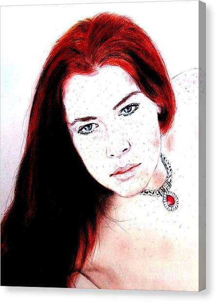 Lucy Liu Canvas Print - Red Hair And Freckled Beauty Remake II by Jim Fitzpatrick
