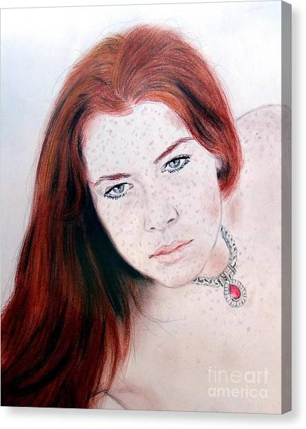 Lucy Liu Canvas Print - Red Hair And Freckled Beauty Remake by Jim Fitzpatrick