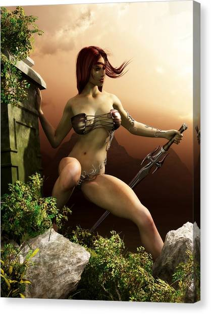 Red Haired Barbarian Woman Canvas Print