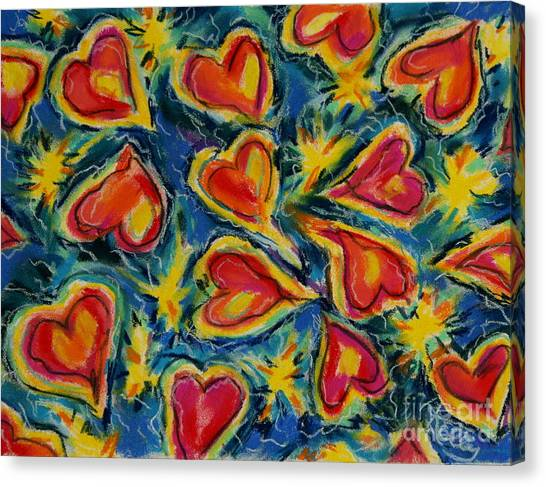 Red Hearts Dancing Canvas Print by Kelly Athena