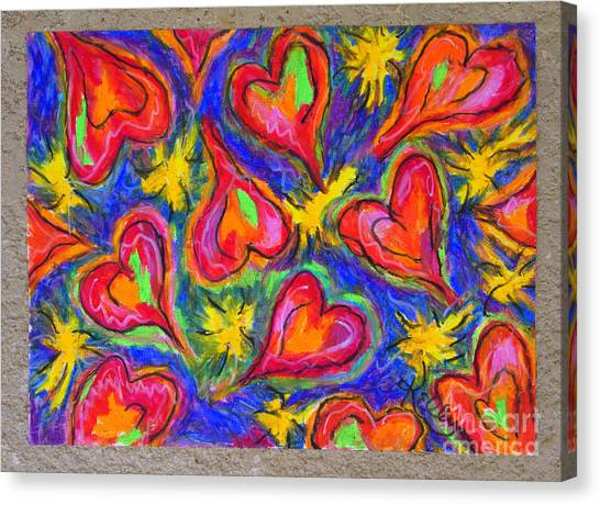 Red Hearts Canvas Print by Kelly Athena
