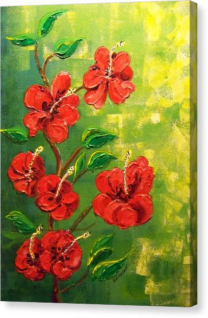 Red Hibiscus 2 Canvas Print by Rich Mason