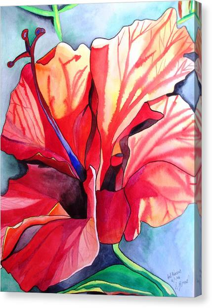 Red Hibiscus Tropical Flower Canvas Print by Sacha Grossel