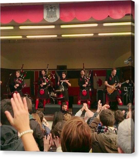 Bagpipes Canvas Print - Red Hot Chili Pipers by Ludovic Farine
