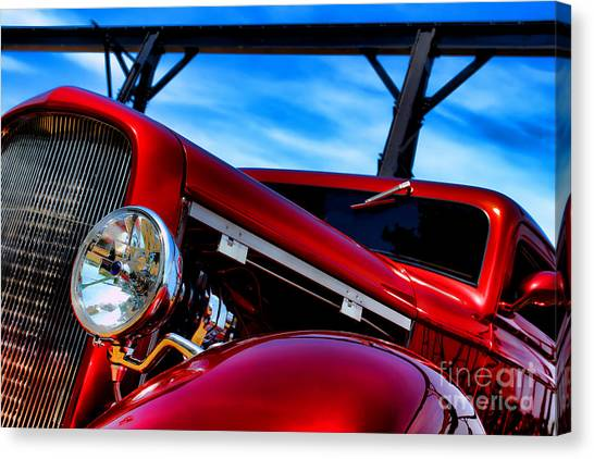 Street Rods Canvas Print - Red Hot Rod by Olivier Le Queinec