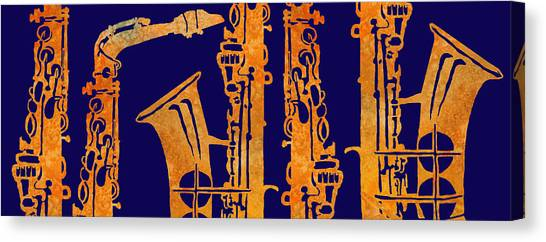 Saxophone Canvas Print - Red Hot Sax Keys by Jenny Armitage
