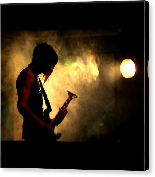 Bass Guitars Canvas Print - Red Ink, Rock The Schools! #gopromusic by Luke Fuda