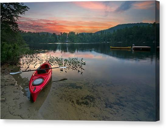 Kayaks Canvas Print - Red Kayak by Darylann Leonard Photography