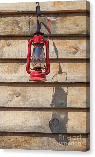 Canvas Print featuring the photograph Red Kerosene Lantern by Bryan Mullennix