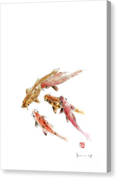 Tangerines Canvas Print - Red Koi Fish Fishes Orange Tangerine Caramel Brown Zodiac Pisces Watercolor Painting by Johana Szmerdt