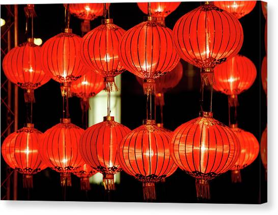 Chinese New Year Canvas Print - Red Lanterns For Chinese New Year by Winhorse