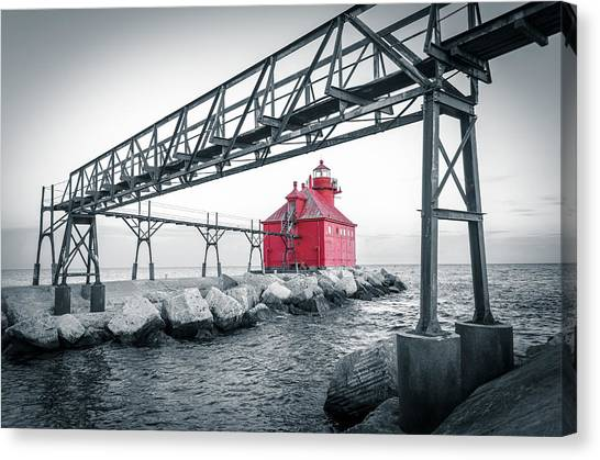 Red Light On Lake Michigan Canvas Print