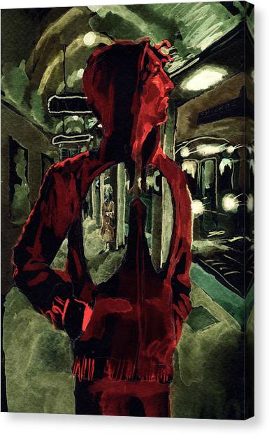 Hoodie Canvas Print - Red Line At Chicago by David Condry