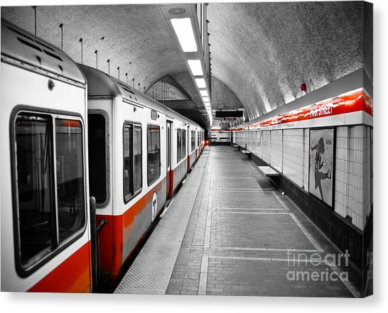 Boston Canvas Print - Red Line by Charles Dobbs