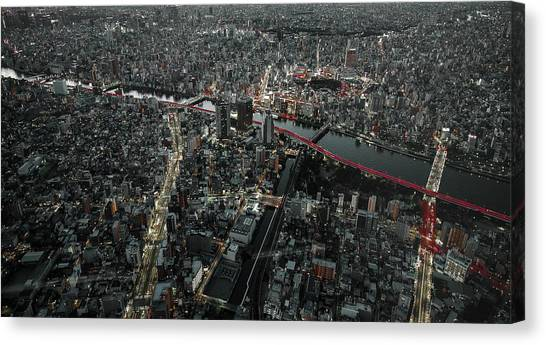 Red Line In The Dark Tokyo. Canvas Print by Carmine Chiriaco'