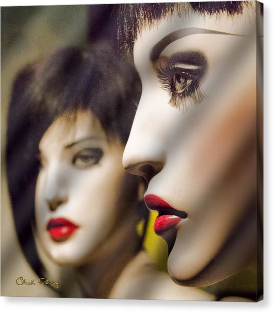 Red Lips - Black Heart Canvas Print