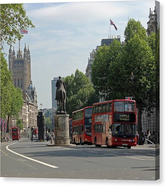 Red London Bus In Whitehall Canvas Print