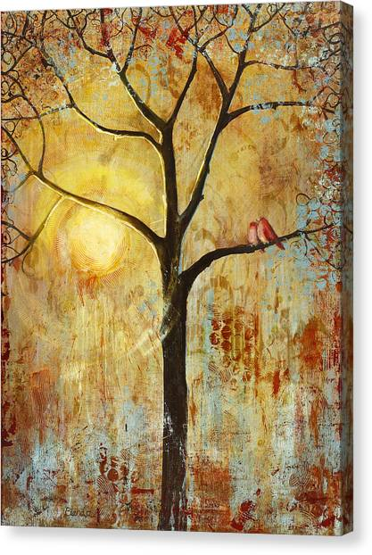 Sunrise Canvas Print - Red Love Birds In A Tree by Blenda Studio