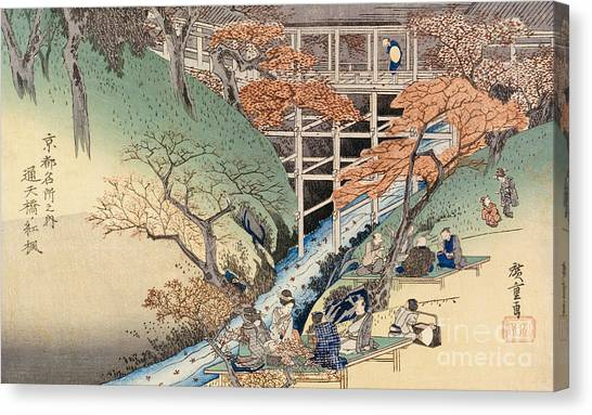 Maple Leaf Art Canvas Print - Red Maple Leaves At Tsuten Bridge by Ando Hiroshige