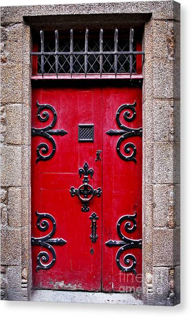 Door Canvas Print - Red Medieval Door by Elena Elisseeva