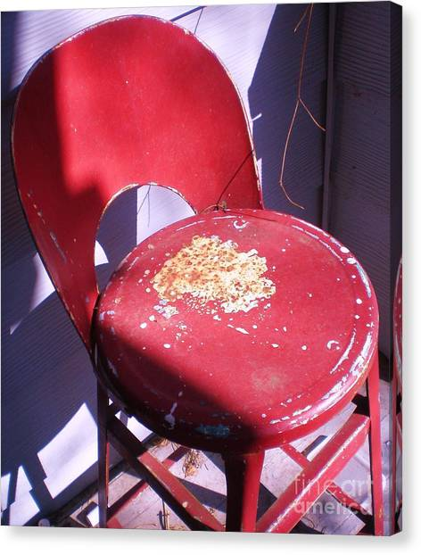 Red Metal Chair Canvas Print
