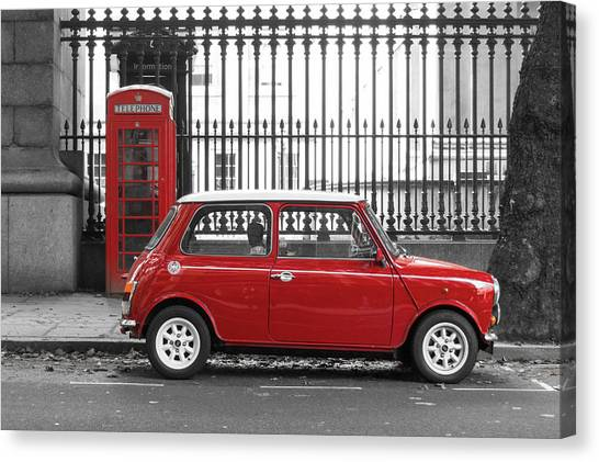 Red Mini Cooper In London Canvas Print