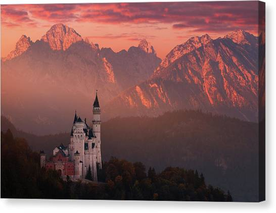 Medieval Canvas Print - Red Morning Above The Castle by Daniel ?e?icha