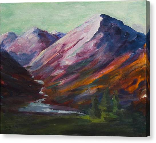 Red Mountain Surreal Mountain Lanscape Canvas Print