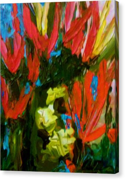 Canvas Print featuring the painting Red N Blue by Ray Khalife