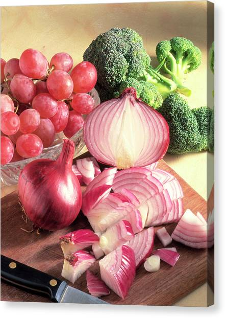 Broccoli Canvas Print - Red Onions by Sheila Terry/science Photo Library