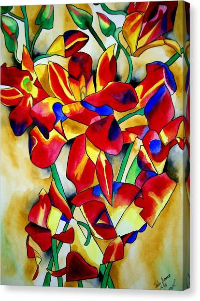 Red Orchids Canvas Print by Sacha Grossel