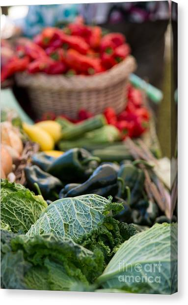 Cabbage Canvas Print - Red Peppers And Cabbage by Rebecca Cozart